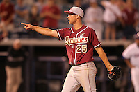"Florida State Seminoles Mike McGee #25 during a game vs. the Florida Gators in the ""Florida Four"" at George M. Steinbrenner Field in Tampa, Florida;  March 1, 2011.  Florida State defeated Florida 5-3.  Photo By Mike Janes/Four Seam Images"