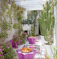 Tables in the shape of an eight-pointed star and scatter cushions covered in Afghan suzanis furnish the secon-floor roof terrace