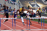 Ezekiel Elliot runs to victory in the 300-meter hurdles at the 2012 Kansas Relays in Lawrence, Ks.