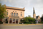 Third 3rd Street and St Pauls Lutheran Church in historic downtown Red Wing Minnesota USA