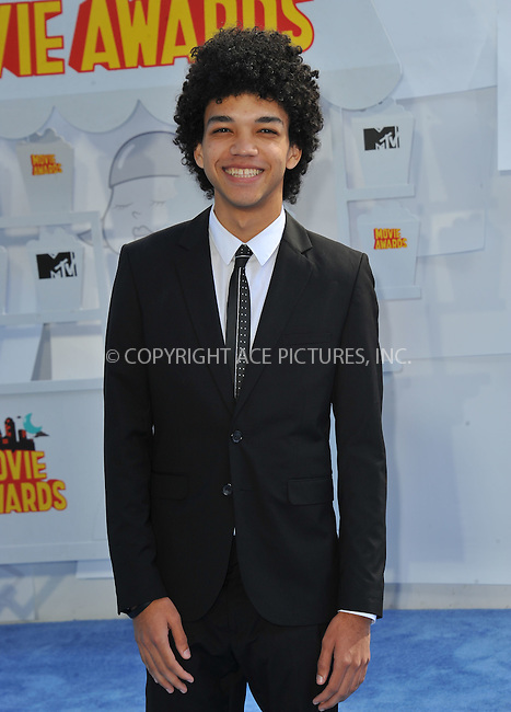 WWW.ACEPIXS.COM<br /> <br /> April 12 2015, LA<br /> <br /> Justice Smith arriving at the 2015 MTV Movie Awards at the Nokia Theatre L.A. Live on April 12, 2015 in Los Angeles, California.<br /> <br /> By Line: Peter West/ACE Pictures<br /> <br /> <br /> ACE Pictures, Inc.<br /> tel: 646 769 0430<br /> Email: info@acepixs.com<br /> www.acepixs.com