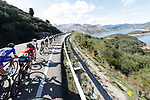 The peloton strung out during Stage 13 of the La Vuelta 2018, running 174.8km from Candas, Carreno to Valle de Sabero, La Camperona, Spain. 7th September 2018.<br /> Picture: Unipublic/Photogomezsport | Cyclefile<br /> <br /> <br /> All photos usage must carry mandatory copyright credit (&copy; Cyclefile | Unipublic/Photogomezsport)