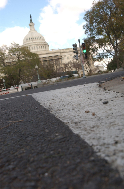 A view of the Capitol Building from street level.