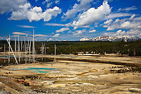 The Porcelain Basin of Norris Geyser Basin in Yellowstone National Park.  There are people along the mile long boardwalk through the basin.