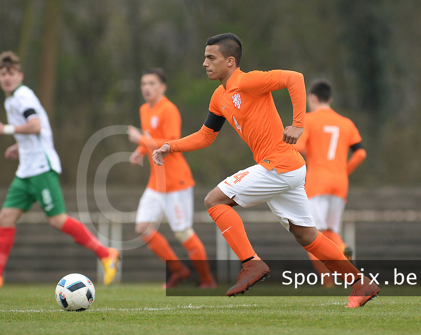 20160324 - Buderich , GERMANY : Dutch Dutch Owen Wijndal pictured during the soccer match between the under 17 teams of The Netherlands and Bulgaria , on the first matchday in group 4 of the UEFA Under17 Elite rounds in Buderich , Germany. Thursday 24th March 2016 . PHOTO DAVID CATRY