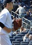 Masahiro Tanaka (Yankees), Mai Tanaka,<br /> APRIL 16, 2014 - MLB : Masahiro Tanaka (L) of the New York Yankees as Tanaka's wife Mai looks on during the Major League Baseball interleague baseball  doubleheader game against the Chicago Cubs at Yankee Stadium in the Bronx, NY, USA.<br /> (Photo by AFLO)
