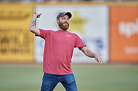 Josh Norris from Hollywood Feed throws out a ceremonial first pitch before a Birmingham Barons Southern League game against the Chattanooga Lookouts on July 24, 2019 at Regions Field in Birmingham, Alabama.  Chattanooga defeated Birmingham 9-1.  (Mike Janes/Four Seam Images)