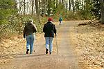 Hiking Ricketts Glen trail with walking sticks. Barbara Reeder and Ardythe Cross.