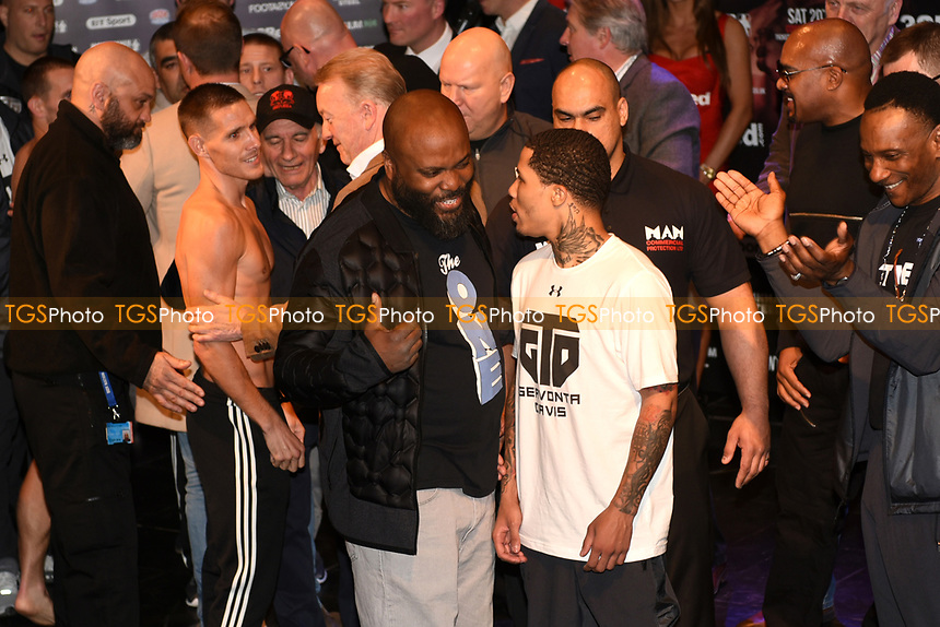 Liam Walsh and Gervonta Davis on stage after Davis misses the weight during a Weigh-In at the Theatre Royal Stratford East on 19th May 2017