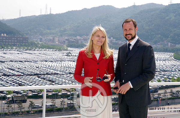 Crown Prince Haakon & Crown Princess Mette Marit of Norway visit Eukor Car Carriers at The Port of Ulsan near Busan on the fouth day of their four day visit to South Korea..
