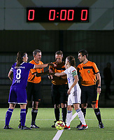 20190920 – LEUVEN, BELGIUM : Referees and captions of OHL, Anaelle Jacqueline Wiard and RSC Anderlecht, Laura De Neve are  pictured at the start of a women soccer game between Dames Oud Heverlee Leuven A and RSC Anderlecht Ladies on the fourth matchday of the Belgian Superleague season 2019-2020 , the Belgian women's football  top division , friday 20 th September 2019 at the Stadion Oud-Heverlee Korbeekdam in Oud Heverlee  , Belgium  .  PHOTO SPORTPIX.BE | SEVIL OKTEM