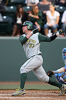Brett Hambright #33 of the Oregon Ducks bats against the UCLA Bruins at Jackie Robinson Stadium on April 6, 2012 in Los Angeles,California. Oregon defeated UCLA 8-3.(Larry Goren/Four Seam Images)