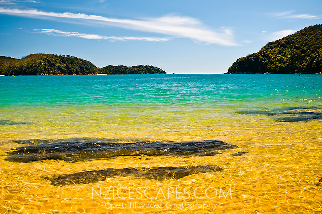 Beautiful golden beach at Ancorage on Abel Tasman Coastal Track - Abel Tasman National Park, Nelson Region, New Zealand