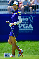Chella Choi (KOR) watches her tee shot on 1 during Sunday's final round of the 2017 KPMG Women's PGA Championship, at Olympia Fields Country Club, Olympia Fields, Illinois. 7/2/2017.<br /> Picture: Golffile | Ken Murray<br /> <br /> <br /> All photo usage must carry mandatory copyright credit (&copy; Golffile | Ken Murray)