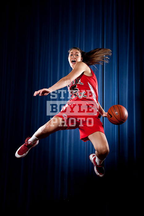 Central Catholic basketball players Carson Desrosiers and Katie Zenevich in Lawrence, Massachusetts on September 9, 2009...©Steve Boyle