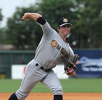 Starting pitcher Bryan Mitchell (17) of the Charleston RiverDogs, a New York Yankees affiliate, in a game against the Greenville Drive on June 24, 2012, at Fluor Field at the West End in Greenville, South Carolina. Charleston won, 7-5. (Tom Priddy/Four Seam Images).