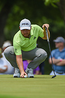 Tyrrell Hatton (ENG) lines up his putt on 2 during round 3 of the 2019 Charles Schwab Challenge, Colonial Country Club, Ft. Worth, Texas,  USA. 5/25/2019.<br /> Picture: Golffile | Ken Murray<br /> <br /> All photo usage must carry mandatory copyright credit (© Golffile | Ken Murray)