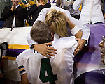 Quarterback Brett Favre #4 of the Green Bay Packers gives his mother-in-law, Ann Byrd, a hug after the game during an NFL football game against the Minnesota Vikings at Hubert H. Humphrey Metrodome on September 30, 2007 in Minneapolis, Minnesota. The Packers beat the Vikings 23-16. (Photo by David Stluka)