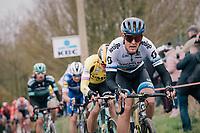 European champion Matteo TRENTIN (ITA/Mitchelton-Scott) up the Molenberg<br /> <br /> 74th Omloop Het Nieuwsblad 2019 <br /> Gent to Ninove (BEL): 200km<br /> <br /> ©kramon