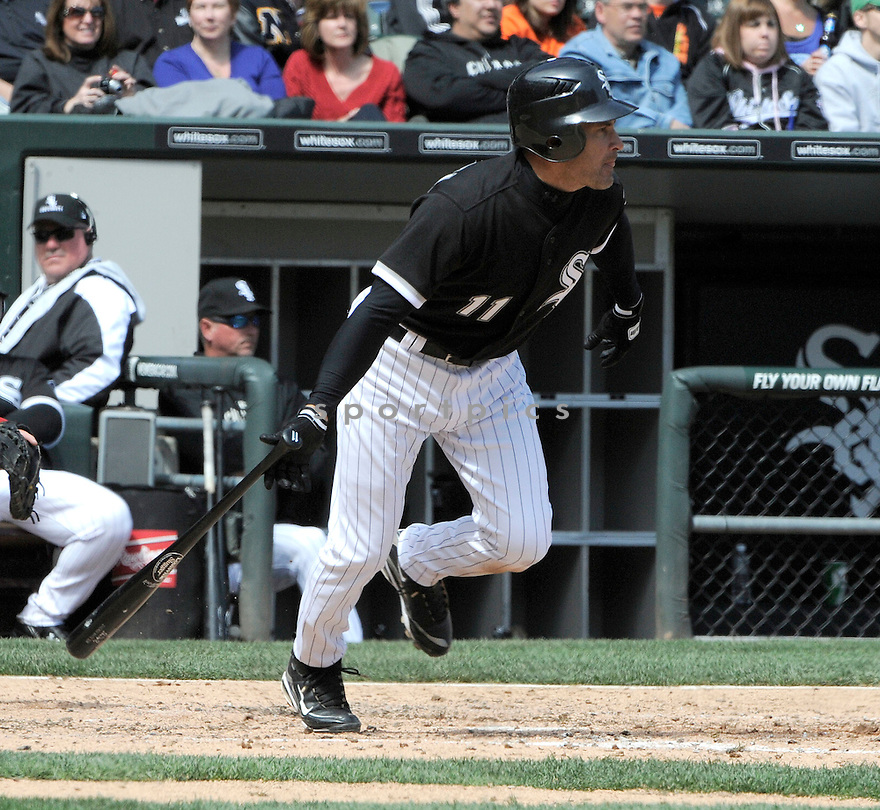OMAR VIZQUEL, of the Chicago White Sox, in action during the Sox game against the Los Angeles Angels on April 17, 2011 at US Cellular Field in Chicago, Illinois.  The Angels beat the White Sox 4-2.