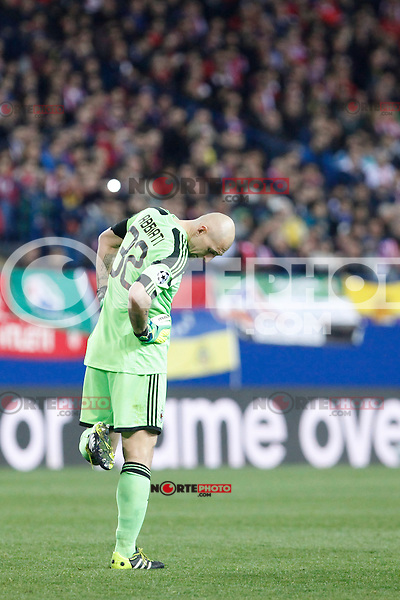 Milan´s goalkeeper Christian Abbiati during 16th Champions League soccer match at Vicente Calderon stadium in Madrid, Spain. March 11, 2014. (ALTERPHOTOS/Victor Blanco)