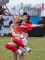 ELLIE YOUNG (IBIZA WEEKENDER) celebrates with Tonia Gigli (PYT) during the SOCCER SIX Celebrity Football Event at the Queen Elizabeth Olympic Park, London, England on 26 March 2016. Photo by Kevin Prescod.