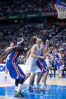 Real Madrid's Felipe Reyes and Khimki Moscow's Sergey Monya during Euroleague match at Barclaycard Center in Madrid. April 07, 2016. (ALTERPHOTOS/Borja B.Hojas) /NortePhoto