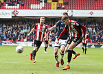 David Brooks of Sheffield Utd takes a shot during the championship match at the Bramall Lane Stadium, Sheffield. Picture date 14th April 2018. Picture credit should read: Simon Bellis/Sportimage