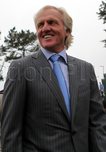 7th October 2009: Charismatic leader of the International Team Greg Norman departs The Presidents Cup opening ceremony at Harding Park Golf Course in San Francisco California. (Photo by Kenneth  E. Dennis/ActionPlus). UK Licenses Only