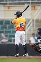 Carlos Perez (8) of the Los Rapidos de Kannapolis at bat against the West Virginia Power at Kannapolis Intimidators Stadium on July 25, 2018 in Kannapolis, North Carolina. The Los Rapidos defeated the Power 8-7 in game two of a double-header. (Brian Westerholt/Four Seam Images)