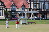 Playing Croquet in Government Gardens, Museum (former spa) in the Background.  Rotorua, north island, New Zealand.
