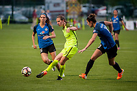 Kansas City, MO - Saturday June 17, 2017: Erika Tymrak, Rebekah Stott, Yael Averbuch during a regular season National Women's Soccer League (NWSL) match between FC Kansas City and the Seattle Reign FC at Children's Mercy Victory Field.
