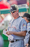20 September 2015: Miami Marlins Manager Dan Jennings stands in the dugout during a game against the Washington Nationals at Nationals Park in Washington, DC. The Marlins fell to the Nationals 13-3 in the final game of their 4-game series. Mandatory Credit: Ed Wolfstein Photo *** RAW (NEF) Image File Available ***