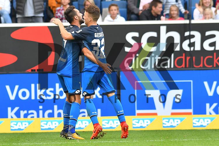 23.09.2017, wirsol-Rhein-Neckar-Arena, Sinsheim, GER, 1. FBL, TSG 1899 Hoffenheim vs FC Schalke 04, im Bild Lukas Rupp (TSG 1899 Hoffenheim #7) jubelt ueber sein Tor zum 2:0 mit Dennis Geiger (TSG 1899 Hoffenheim #32) beim Spiel in der Fussball Bundesliga, TSG 1899 Hoffenheim - FC Schalke 04.<br /> <br /> Foto &copy; PIX-Sportfotos *** Foto ist honorarpflichtig! *** Auf Anfrage in hoeherer Qualitaet/Aufloesung. Belegexemplar erbeten. Veroeffentlichung ausschliesslich fuer journalistisch-publizistische Zwecke. For editorial use only.