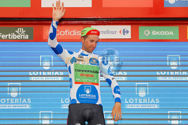 Davide Villela (ITA) Cannondale Drapac retains the mountains Polka Dot Jersey on the podium at the end of Stage 7 of the 2017 La Vuelta, running 207km from Ll&iacute;ria-Cuenca, Spain. 25th August 2017.<br /> Picture: Unipublic/&copy;photogomezsport | Cyclefile<br /> <br /> <br /> All photos usage must carry mandatory copyright credit (&copy; Cyclefile | Unipublic/&copy;photogomezsport)