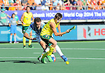 The Hague, Netherlands, June 13: Jacob Whetton #12 of Australia controls the ball prior to his field goal (3-0) during the field hockey semi-final match (Men) between Australia and Argentina on June 13, 2014 during the World Cup 2014 at Kyocera Stadium in The Hague, Netherlands. Final score 5-1 (3-0)  (Photo by Dirk Markgraf / www.265-images.com) *** Local caption *** Jacob Whetton #12 of Australia, Juan Ignacio Gilardi #4 of Argentina
