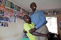 Abel Kirui, left and Wilson Kispang, right, two of Kenya's fastest marathon runners. Iten, Kenya.