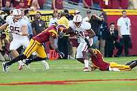 LOS ANGELES, CA-OCTOBER 29,2011- The Stanford Cardinals defeated the USC Trojans 56-48. Chris Owusu (81) during play against USC at the L.A. Coliseum in Los Angeles, CA.