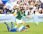 10.09.2017, OLympiastadion, Berlin, GER, 1.FBL, Hertha BSC VS. SV Werder Bremen, im Bild <br /> Niklas Stark (Hertha BSC Berlin #5), Max Kruse (Werder Bremen)<br /> <br /> <br />       <br /> Foto &copy; nordphoto / Engler