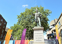 August 03, 2012 - Cardiff England - United Kingdom - A seagull sits on the head of John Batchelor Statue in downtown Cardiff. The photograph was made prior to the Group F match between JPN and BRA at the Millennium Stadium. .