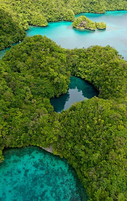 Aerial view over the Rockislands near Pinchers Lagoon, Palau, Micronesia