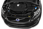 Car Stock 2017 Volvo XC60 R-Design 5 Door SUV Engine  high angle detail view