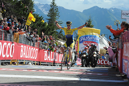 31.05.2014, Maniago to Monte Zoncolan, Italy. Giro D Italia Stage 20.  Tinkoff - Saxo 2014, Rogers Michael crooses the finish line as winner in Monte Zoncolan