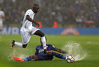 Pictured (L-R): Modou Barrow of Swansea City jumps over a Leicester player Saturday 27 August 2016<br />Re: Swansea City FC v Leicester City FC Premier League game at the King Power Stadium, Leicester, England, UK
