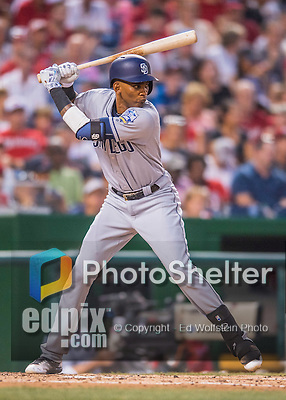 23 July 2016: San Diego Padres infielder Alexei Ramirez in action against the Washington Nationals at Nationals Park in Washington, DC. The Nationals defeated the Padres 3-2 to tie their series at one game apiece. Mandatory Credit: Ed Wolfstein Photo *** RAW (NEF) Image File Available ***