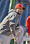 11 October 2012: St. Louis Cardinals second baseman Daniel Descalso awaits his turn in the batting cage prior to Postseason Playoff Game 4 of the National League Divisional Series against the Washington Nationals at Nationals Park in Washington, DC. The Nationals defeated the Cardinals 2-1 tying the Series at 2 games apiece. Mandatory Credit: Ed Wolfstein Photo