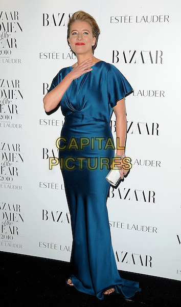 EMMA THOMPSON.Harper's Bazaar Women of the Year Awards at One Mayfair, London, England, UK. .November 1st 2010.full length blue teal dress silk satin white silver clutch bag maxi hand.CAP/CAN.©Can Nguyen/Capital Pictures.