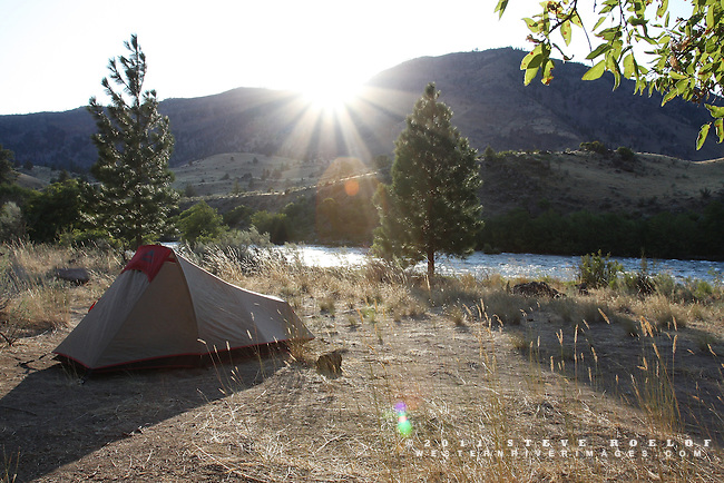 Camp is set and the sun bids farewell, Deschutes River, Oregon.