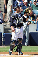 New York Yankees catcher Gustavo Molina #66 during a scrimmage against the USF Bulls at Steinbrenner Field on March 2, 2012 in Tampa, Florida.  New York defeated South Florida 11-0.  (Mike Janes/Four Seam Images)