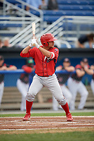 Williamsport Crosscutters second baseman Jake Scheiner (3) at bat during a game against the Batavia Muckdogs on August 3, 2017 at Dwyer Stadium in Batavia, New York.  Williamsport defeated Batavia 2-1.  (Mike Janes/Four Seam Images)